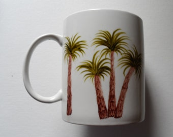 Palm Tree Cup Hand Painted Large Palm Tree Cup Palm Tree Crock