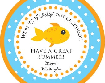 O'Fishally out of School / end of school / Goldfish Thank You PERSONALIZED Stickers, Tags, Labels, or Cupcake Toppers, various sizes