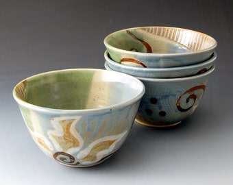 Small Ceramic Bowl with Flower Motif - Handmade Clay Bowl