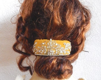 Golden hair barrette,embroidered barrette, beaded barrette, sequinned barrette,fabric barrette, hair accessory, fashion accessory