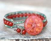 Carnelian Gemstone and Aqua Crystal Leather Wrap, Cuff Handmade Bracelet