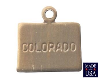 Raw Brass Tiny Colorado State Charm Drops (6) chr201Z