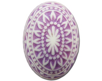 Vintage Etched Mosaic Purple and White Cabochons 25x18mm (2) cab715H
