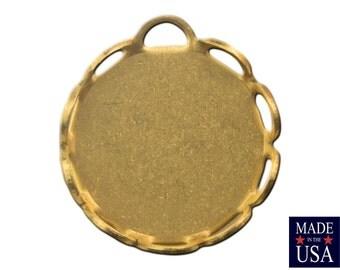 1 Loop Raw Brass Lace Edge Filigree Setting 9mm Round (12) stn002E