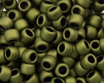 "Matte Color Dark Olive Toho Seed Bead 8/0 2.5"" Tube TR-08-617/C"