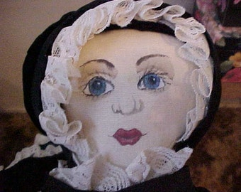 WEIRD DOLL-An ATTIC BABy-Dressed in all Black Velvet w/ Lace Trim-Painted Face-17 inch Doll-Very Strange, but Cute