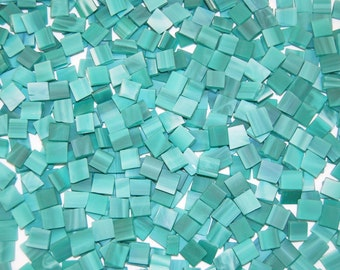 Mini Teal Green Tumbled Stained Glass Mosaic Tiles