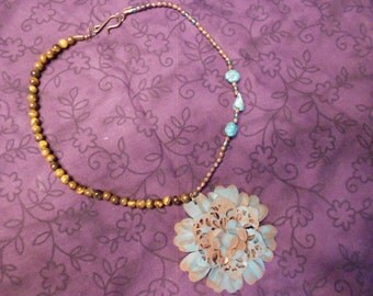 Boho Chic Metal and Turquoise Necklace