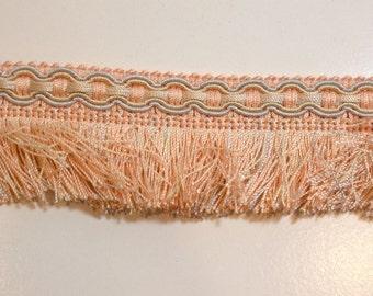 Light Orange Fringe, Peach and Blue Gimp Brush Fringe Sewing Trim 2 inches wide x 3 yards