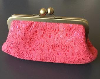 Coral Vintage Cotton Lace Clutch