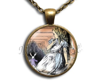 Alice In Wonderland Large Alice - Round Glass Dome Pendant or with Necklace by IMCreations -  AW110