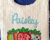 Sweet Strawberry Name Toddler Size Bib