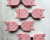 Wool Felt Bows - Pink and Silver Dots Metallic Fabric - You Choose Quantity
