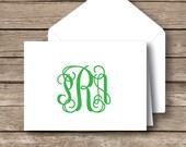 Monogrammed stationery,  Folded vine monogrammed note cards, preppy stationery,  monogrammed notecards with envelopes, set of 10 -classic