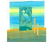 Heron Marsh - 8 x 10 or 10x13 Art Print in Blues, Yellow, Aqua, Green and Fawn - Paper Collage
