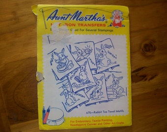 Aunt Martha Hot Iron Transfers  675 Rabbit Tea Towel Motifs