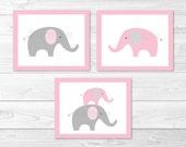 Pink Elephant Nursery Wal...