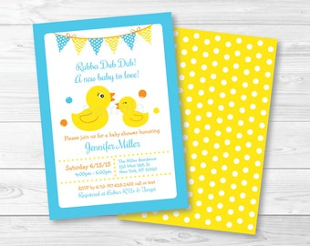 Rubber Duck Baby Shower Invitation / Rubber Duck Baby Shower Invite / Cute Rubber Duck Invitation / Baby Boy Shower / PRINTABLE A276