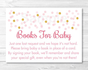 Pink & Gold Glitter Baby Shower Book Request Cards / Glitter Baby Shower / Books For Baby / Printable INSTANT DOWNLOAD A335