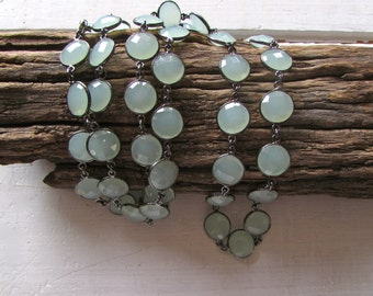 Green Chalcedony Stone Necklace Oxidized Sterling Bezels