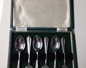 1943 Sterling Silver English Demitasse Spoons by Atkin Brothers Boxed