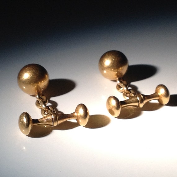 1890 Bespoke 18 KT Gold English Cufflinks Ball and Chain - Husband Gift