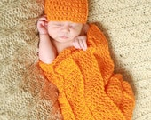 Crochet Baby Pumpkin Cocoon and Hat, Fall Baby Photo Prop, You pick size, Ready to Ship