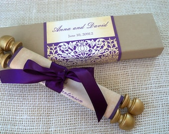 Scroll wedding invitations, purple and gold, fabric scroll with presentation box, {25}