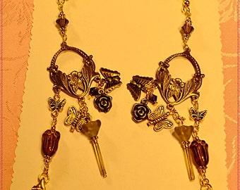 Purple Tulip,Crystal,Butterfly Earrings