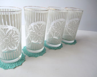 Vintage White Floral Tumblers Set of Four