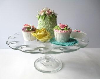 Vintage Cake Stand Indiana Glass Teardrop - Weddings Bridal