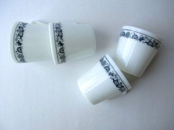 Vintage Pyrex Old Town Blue Coffee Cups Set of Four