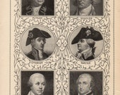 Chart of American Revolutionary War Generals Putnam Schuyler Marion Wayne Greene and Morgan