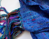 handwoven true blue chenille scarf