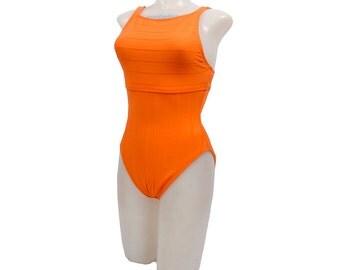 Vintage 80s Swim Suit - 90s Swim Suit - Neon Orange - Orange Swim Suit - 80s Bathing Suit - 90s Bathing Suit - Neon Orange - Baywatch - M