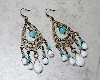 White Magnesite Bead Chandelier Earrings,Antique Brass Beaded Chandelier Earrings,Turquoise Glass Bead Earrings, Boho, Hippie