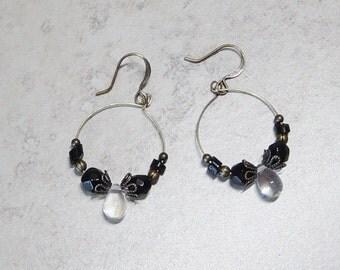 Beaded Antique Brass Hoop Earrings, Black Glass Bead Earrings, Clear Glass Bead Earrings, Boho