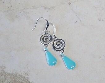 Turquoise and Silver Earrings,  Silver Earrings, Boho, Dangle Teardrop Earrings, Southwestern