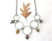 jasper and silver necklace, oxidized jewelry, rustic stone necklace, metalwork