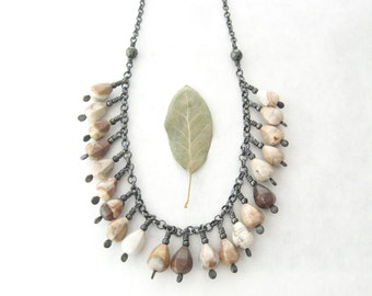 jasper and silver necklace, wire wrap rustic necklace
