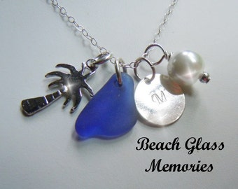 Personalized Gift Sea Glass Necklace Monogrammed Blue Beach Glass Palm Tree Necklace Seaglass Jewelry Charm Necklace