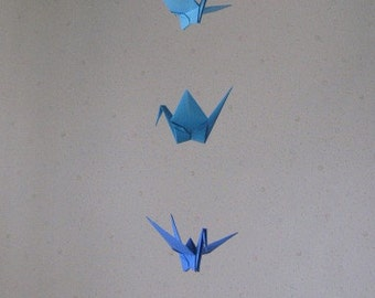 """5 Dangling Mobile - Blue Shades, folded from 7"""" (17.8 cm) Solid Origami, Crane Mobile, Blue Shades, Home Decor, Nursery Decor, Peace"""