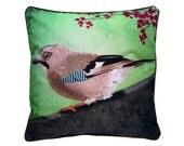 XL Cushion cover for throw pillow with bird - Eurasian Jay - 24x24inch // 60x60cm