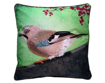 XL Cushion cover for throw pillow with bird - Eurasian Jay - 24x24inch // 60x60cm