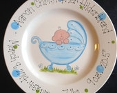 Hand Painted Baby Plate - Sweet Baby in Baby Carriage