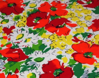 vintage 80s rayon fabric, featuring great brian bailey floral designer print,1 yard, 3 available priced PER YARD