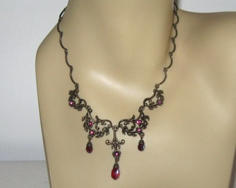 Renaissance Necklace / Ornate Rhinestone Necklace