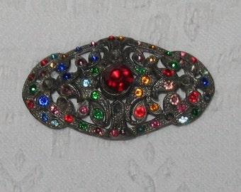 Art Deco Brooch . Czech Glass Art Deco Brooch . art deco pin . czech glass brooch