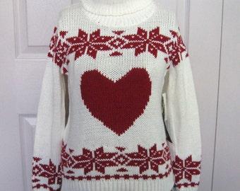 Vintage Folk Sweater . Norwegian Cotton sweater . Hand Knit sweater . Heart Sweater XS