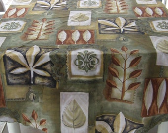 Round Retro Tablecloth . Leaf Tablecloth Round . round tablecloth . leaf tablecloth . abstract tablecloth  . olive tablecloth